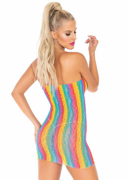 LA86163, Rainbow Leopard Lace Dress back view by Leg Avenue