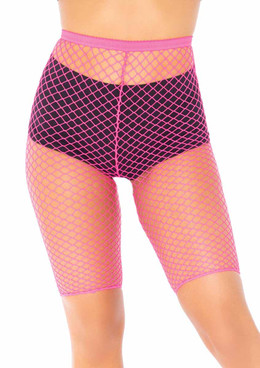 LA8882X, Plus Size Industrial Net Biker Shorts color neon Pink by Leg Avenue