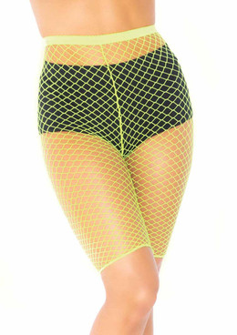 LA8882X, Plus Size Industrial Net Biker Shorts Neon Yellow by Leg Avenue