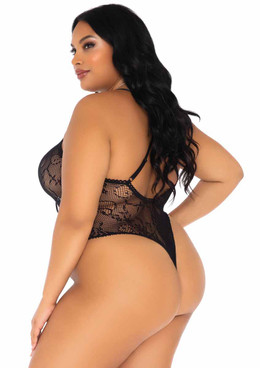 LA89248X, Plus Size Floral Lace Thong Teddy back view by Leg Avenue