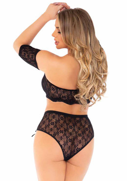 LA81606, Daisy Lace Crop Top and High Waist Panties back view by Leg Avenue
