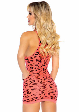 LA86160, Sheer Cheetah Dress back view by Leg Avenue