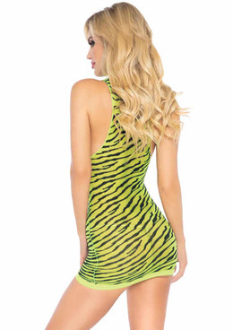LA86159, Sheer Zebra Dress back view by Leg Avenue