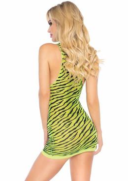 LA86159, Sheer Zebra Dress back view by Leg Avenue