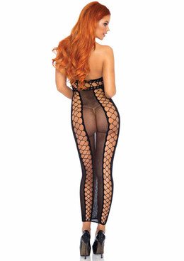 LA88023, Fishnet Halter Long Dress back view by Leg Avenue