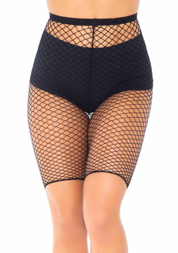 LA8882, black Industrial Net Biker Shorts by Leg Avenue