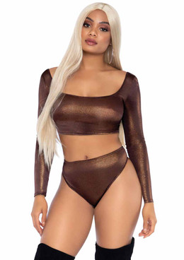 LA89262, Shimmer Crop Top and High Waist Thong color Bronze by Leg Avenue