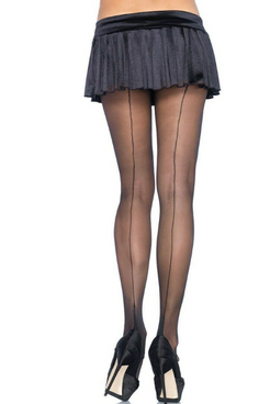 Plus Size Black Cuban Heel Backseam PantyHose by Leg Avenue LA-9132X