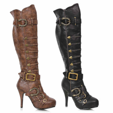 421-RUMI, Knee High Pirate Boots Buckles by Ellie 1031
