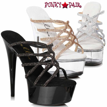 Ellie Shoes | 609-SELENA, Strappy Rhinestones Sandal