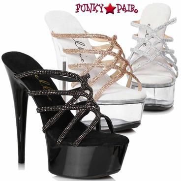 Ellie Shoes   609-SELENA, Strappy Rhinestones Sandal