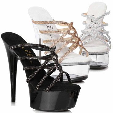 609-SELENA, Strappy Rhinestones Sandal by Ellie Shoes