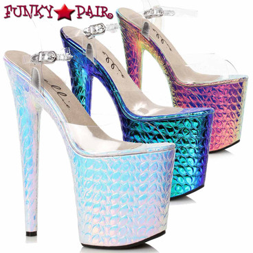 Ellie Shoes | 850-SUGAR, Hologram Platform Sandal