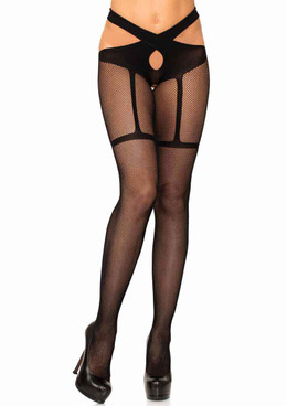 LA-9287, Faux Garter Wrap Around Tights by Leg Avenue