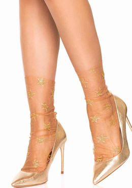 LA-3050, Glitter Star Anklet Socks by Leg Avenue