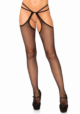 LA-1607, Scalloped Fishnet Suspender Pantyhose by Leg Avenue