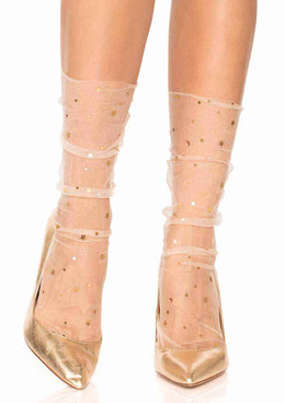 Leg Avenue | LA-3047, Stars and Moon Cream Sheer Anklet Socks