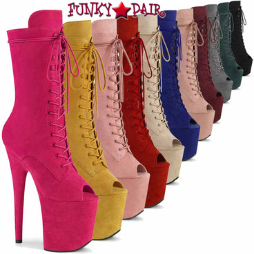 Pleaser   Flamingo-1051FS, Suede Peep Toe Lace Up Boots