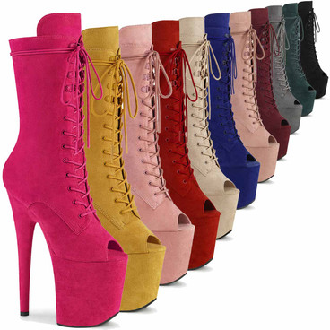 Flamingo-1051FS, Suede Peep Toe Lace Up Stripper Boots by Pleaser