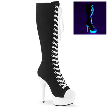 Delight-200SK-02, Knee High Canvas Sport Boot by Pleaser