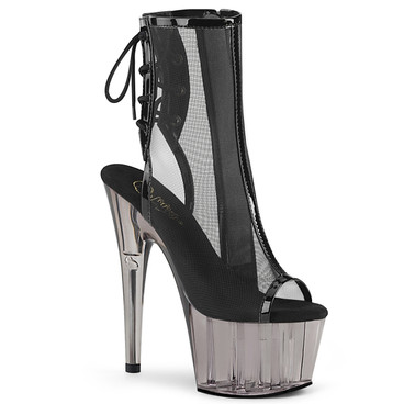 Pleaser | Adore-1018MSHT, Tinted Platform Mesh Ankle Boots