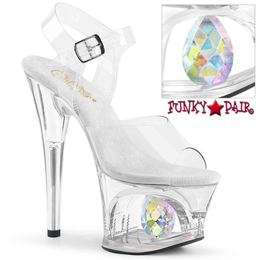 Pleaser | Moon-708DIA, Platform Sandal with Crystal Glass Diamond