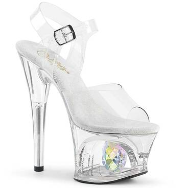 Moon-708DIA, Platform Sandal with Crystal Glass Diamond by Pleaser