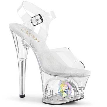 Moon-708DIA, Platform Sandal with Crystal Glass Diamond by Pleaser