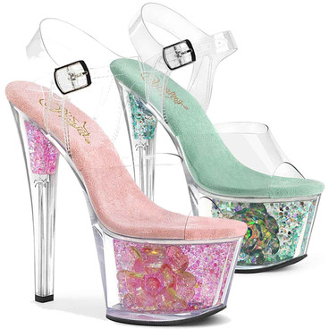 Sky-308CF, Ankle Strap Sandal With Flower and Glitter in Platform by Pleaser