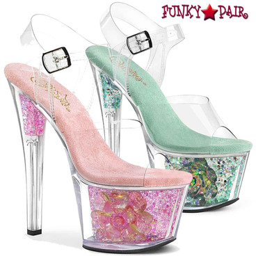 Pleaser | Sky-308CF, Ankle Strap Sandal With Flower and Glitter in Platform