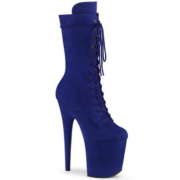 Pleaser | Flamingo-1050FS, Mid-Calf Blue Suede Boots