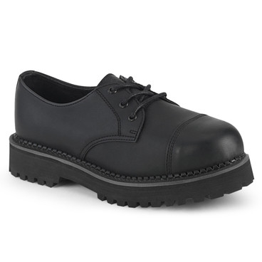 Demonia | RIOT-03, Men's Gothic Leather Steel Toe Shoes color black vegan leather