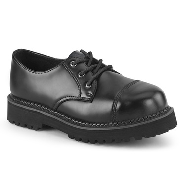 RIOT-03, Men's Gothic Black Leather Steel Toe Shoes by Demonia