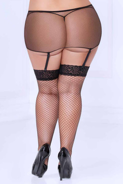 STM-20471X, Plus Size Stocking with Fishnet Garter Belt Back View by Seven Till Midnight