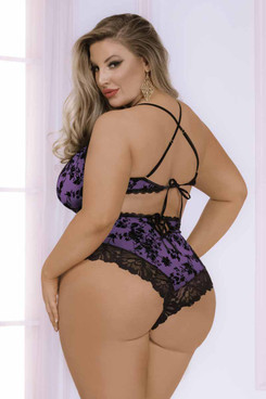 STM-11015X, Plus Size Flocked Mesh and Lace Romper Back View by Seven Till Midnight