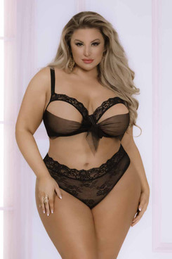 STM-11051X, Plus Size Black Lace and Chiffon Bow Open Cup Bra Set by Seven Till Midnight