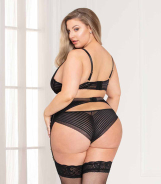 STM-11120X, Plus Size Chevron Black Lace Bra Set back view by Seven Till Midnight
