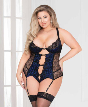 STM-11094X, Floral Lace Plus Size Cami Garter Set by Seven Till Midnight