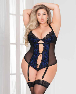 STM-11095X, Floral Lace Keyhole Teddy by Seven Till Midnight
