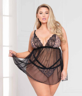 Plus Size Lace and Leopard Print Babydoll Set, STM-11068X by Seven Till MIdnight
