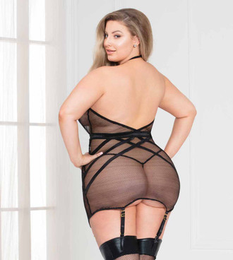 Plus Size Industrial Net Dress with Strappy Detail, STM-11130X back view by Seven Till Midnight
