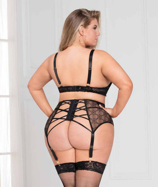 Lace Overly Plus Size Bra Set, STM-11093X back view
