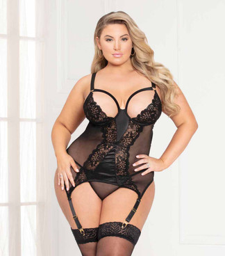 STM-11117X, Plus Size Lace and Net Chemise Set color black  by Seven Till Midnight
