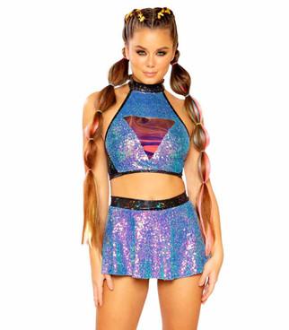 JV-FF402, Sequin Skirt Color Water Opal by J. Valentine