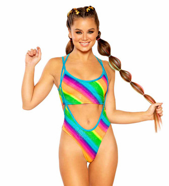 JV-FF369-Print Suspender Bottom Color Rainbow Stripe by J. Valentine