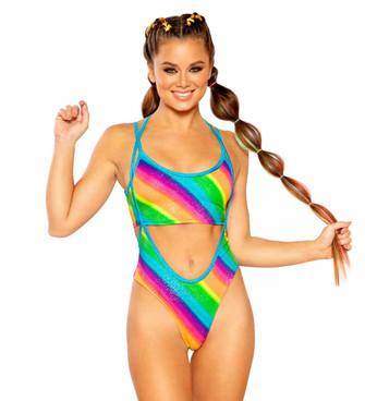 JV-FF369-Print Suspender Bottom Color Rainbow Stripe by J. Valentine
