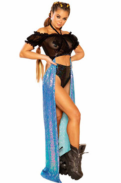 JV-FF364, Sequin Harness Skirt color Water Opal by J. Valentine