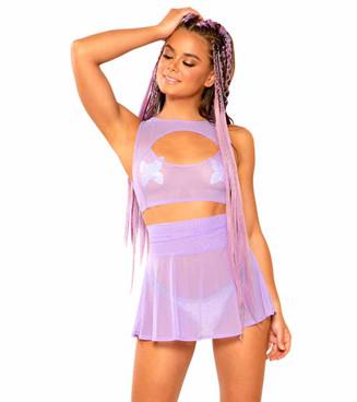 JV-FF336, Mesh Skater Lavender Skirt by J. Valentine