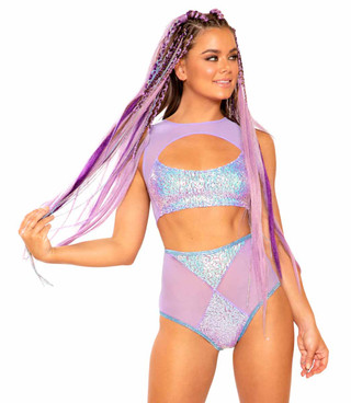JV-FF315, Mesh/Sequin Keyhole Top Color Lavender Dreams by J. Valentine