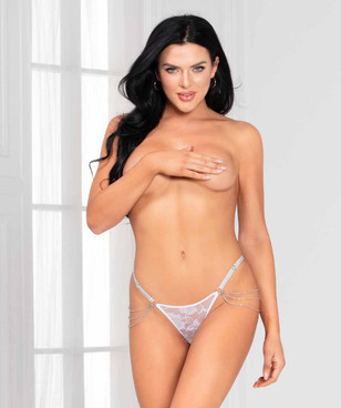 STM-11136, White Lace G-string with Chain Detail by Seven Till Midnight